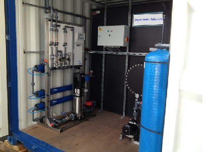 Reverse osmosis plant (750l/h) with 18 m3 storage tank and hydrophone distribution system.